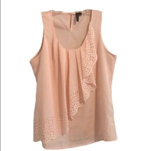 SIONI Baby Pink Eyelet Tiered Sleeveless Top